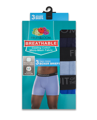 Men's Breathable Assorted Color Boxer Brief, 3 Pack Assorted