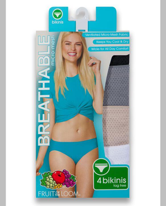 Women's Breathable Micro-Mesh Bikini Underwear, 4 Pack Assorted