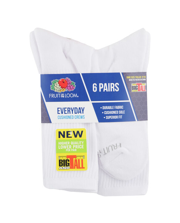 Men's Cushioned Crew Socks, 6 Pack WHITE