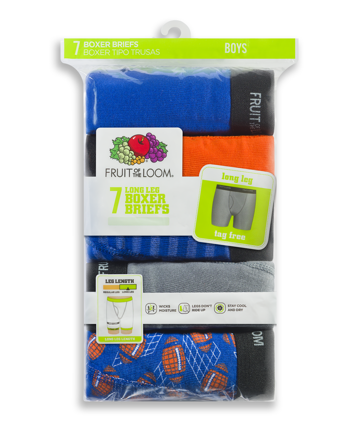 Boys' Assorted Long Leg Boxer Briefs, 7 Pack
