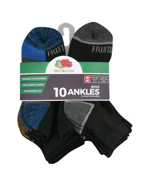 Boys' Cushioned Ankle Socks, 10 Pack JET BLACK/DIRECTOR BLUE,JET BLACK/VIBRANT ORANGE, JET BLACK/LEMONCH,JET BLACK/B50,JET BLACK/HIGH RISK RED,JET BLACK/B50, JET BLACK/B50, JET BLACK/B50,
