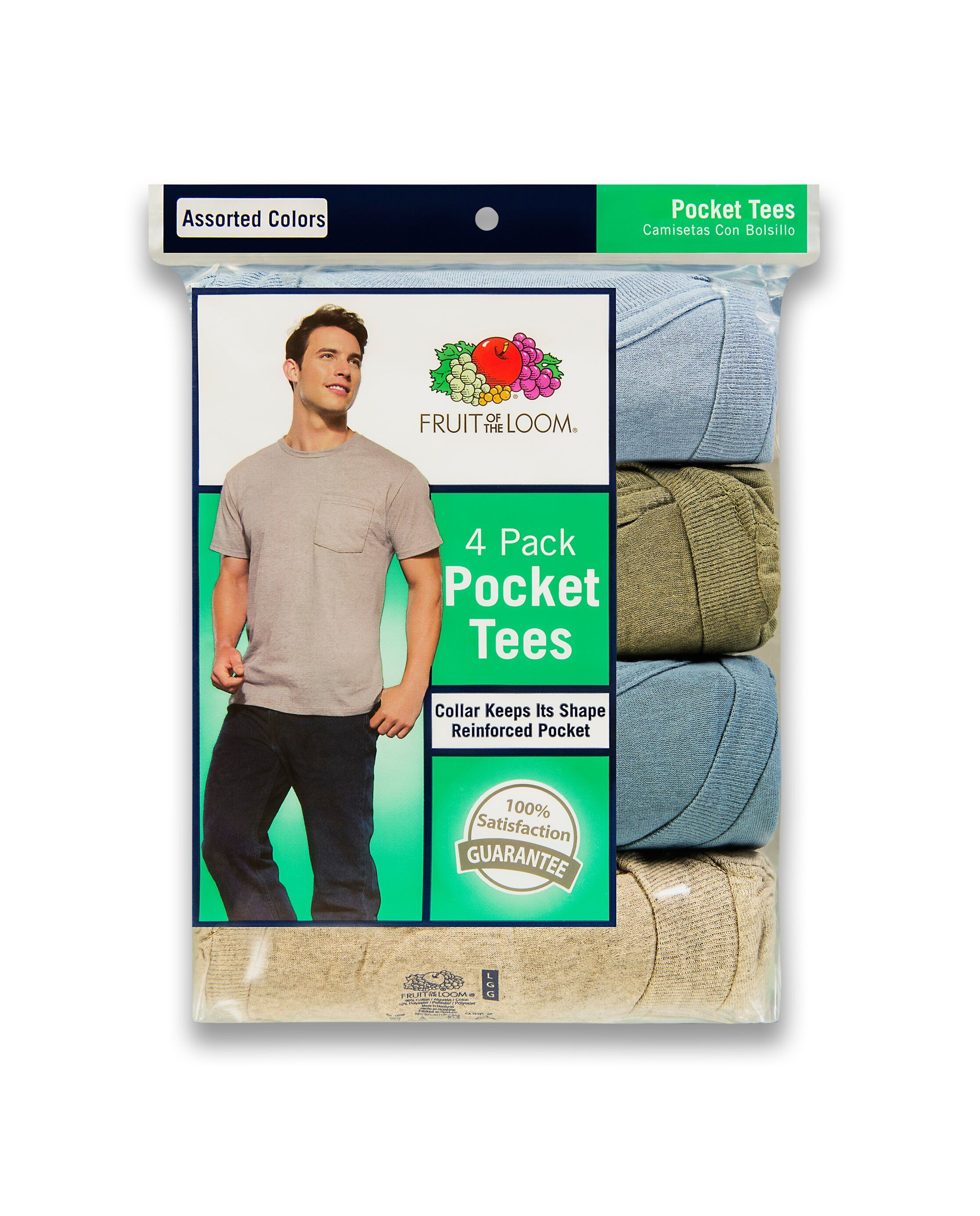 Fruit of the Loom Mens Four-Pack Pocket Tee