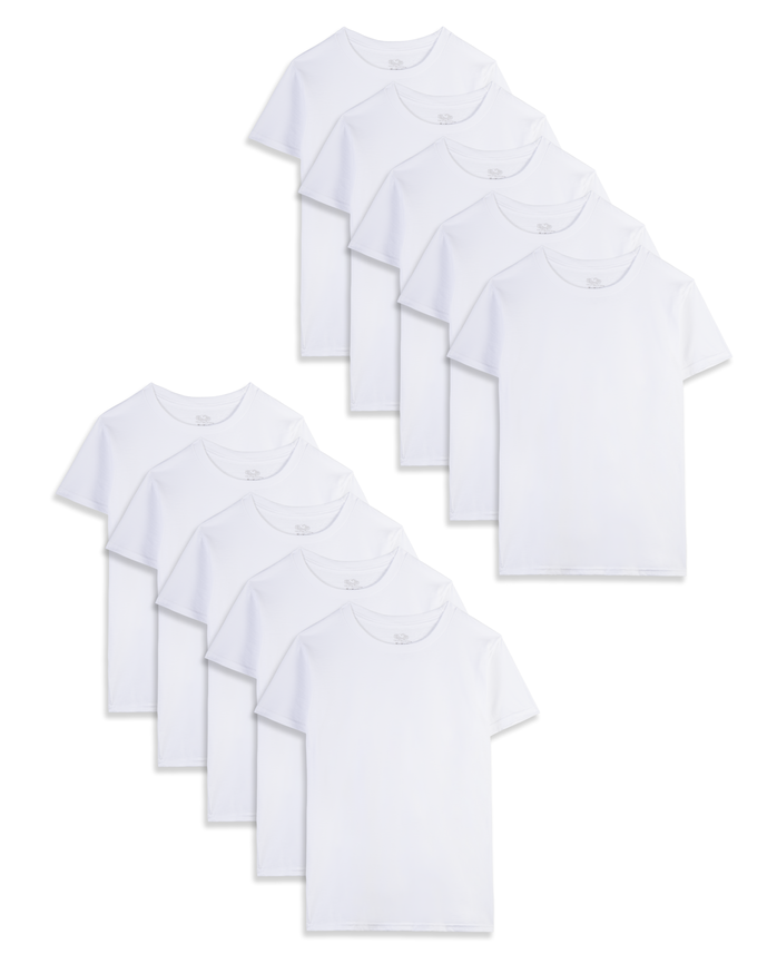 White Crew T-Shirts, 10 Pack
