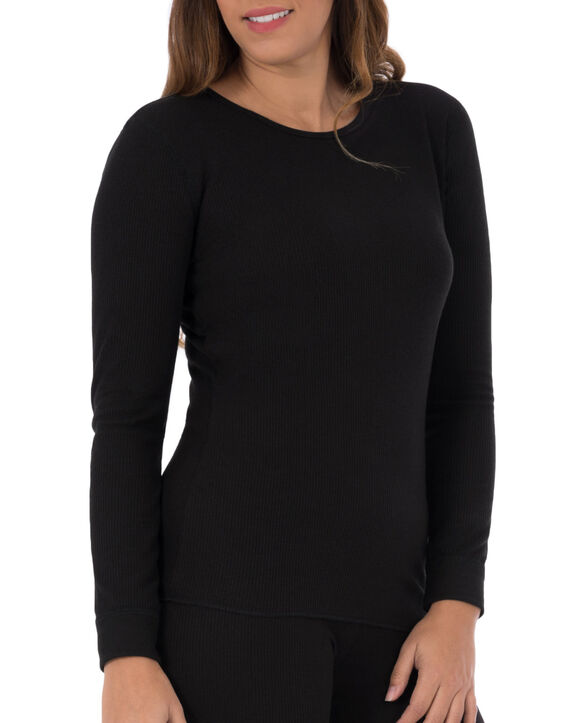 Women's Thermal Crew Top, 1 Pack Black
