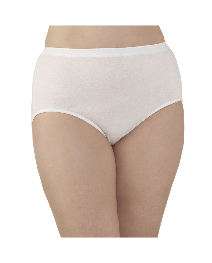 Women's  Fit For Me by Cotton White Brief, 3 Pack