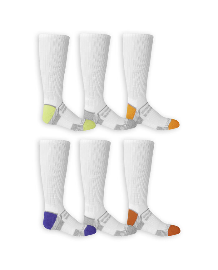 Boys' Everyday Active Crew Socks, 6 Pack WHITE/HIGH RISK RED, WHITE/GREY, WHITE/AUTUMN GLORY, WHITE/DAZZLING BLUE, WHITE/GREY, WHITE/LIME