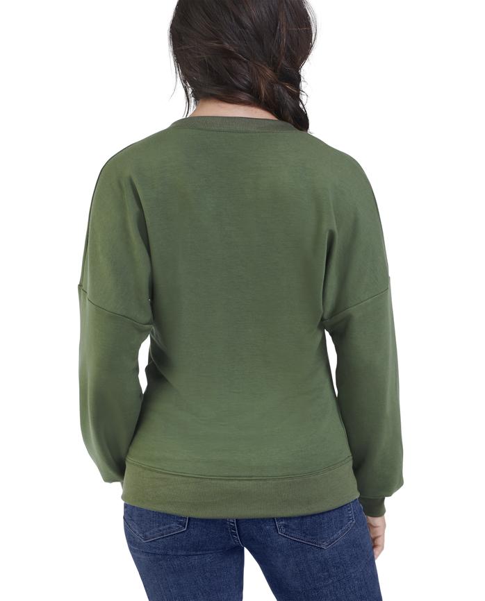 Women's Seek No Further Long Sleeve V-Neck Fleece Blouse Military Green