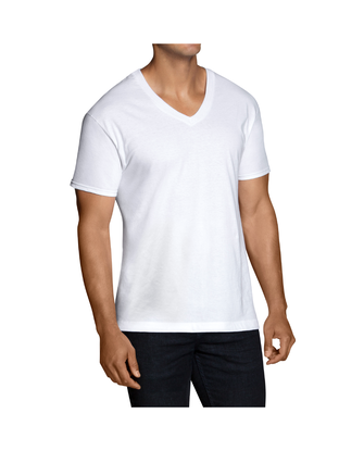 Men's Short Sleeve White V-Neck T-Shirts, Extended Sizes, 5 Pack