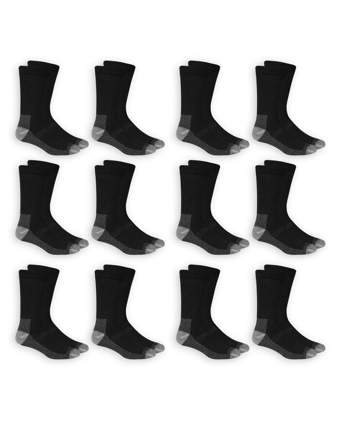 Men's Work Gear Crew Socks, 6 Pack BLACK/GREY
