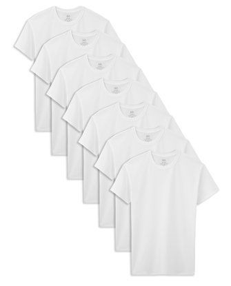 Boys' Short Sleeve White Crew T-Shirts, 7 Pack