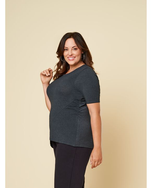 Women's Seek No Further Plus Size ¾ Sleeve Scooped Neck Ruched Top Dark Charcoal Heather