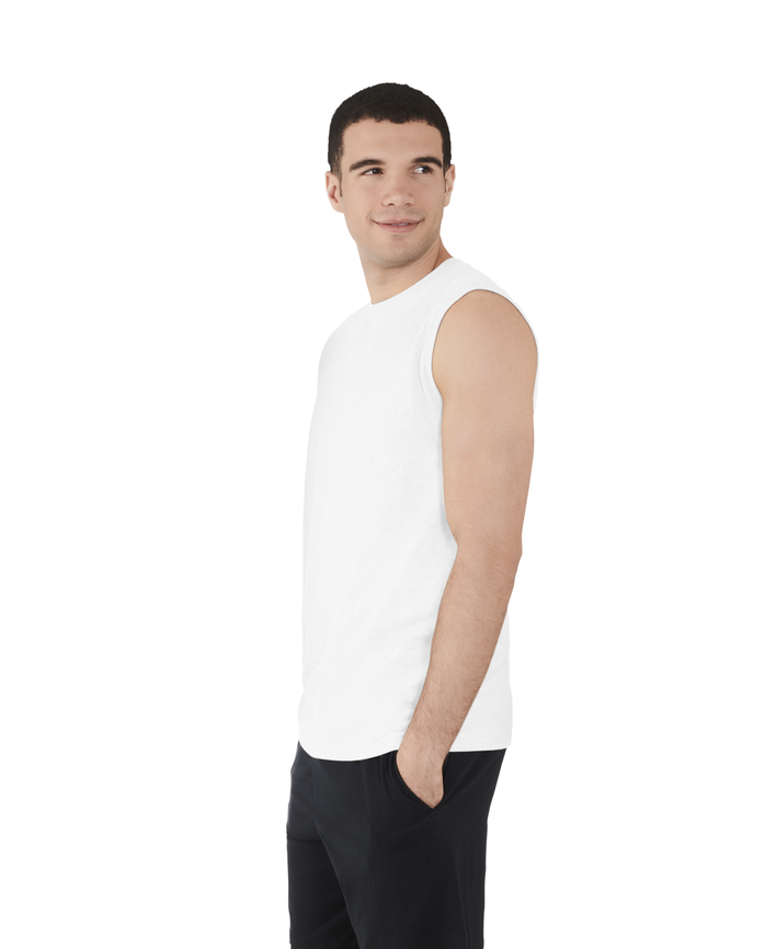 Men's Dual Defense® UPF Muscle Shirt, 1 Pack, Extended Sizes White