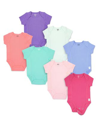 Baby Girls' Short Sleeve Grow & Fit Bodysuits, 7 Pack