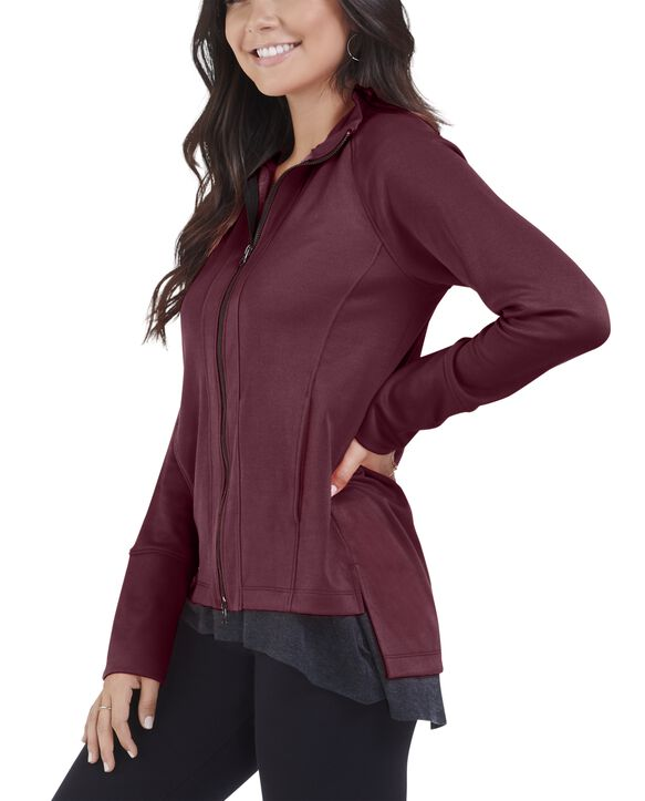 Women's Seek No Further Long Sleeve Full Zip Raglan Track Jacket Athletic Maroon