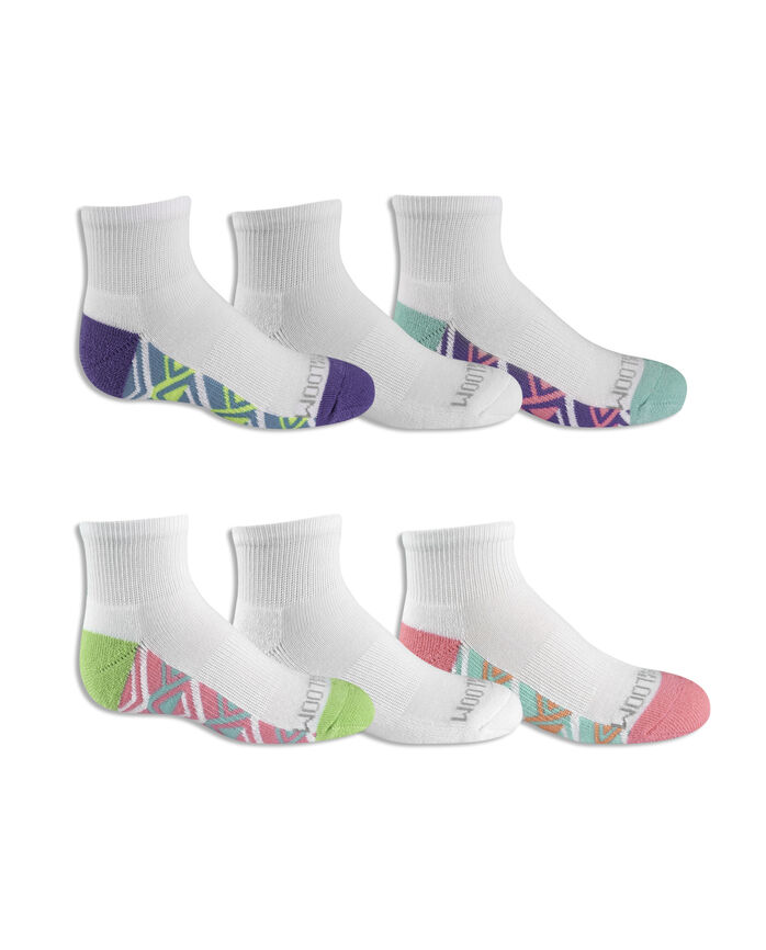 Girls' Cushioned Ankle Socks with Arch Support Pair, 6 Pack, Size 10.5-4 WHITE