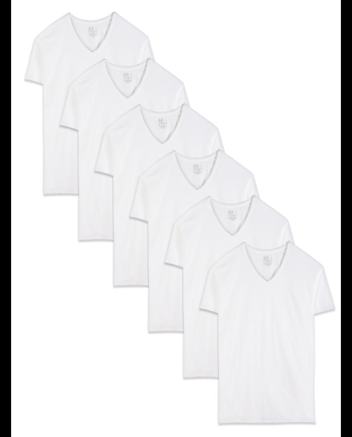 Men's Dual Defense® White V-Neck T-Shirts, 6 Pack
