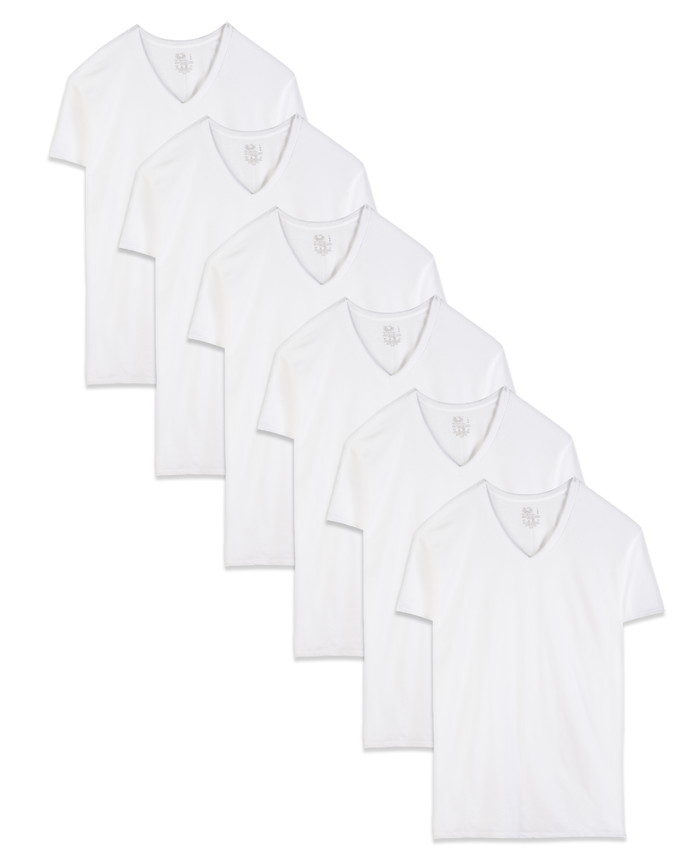 Men's Dual Defense® White V-Neck T-Shirts, 6 Pack