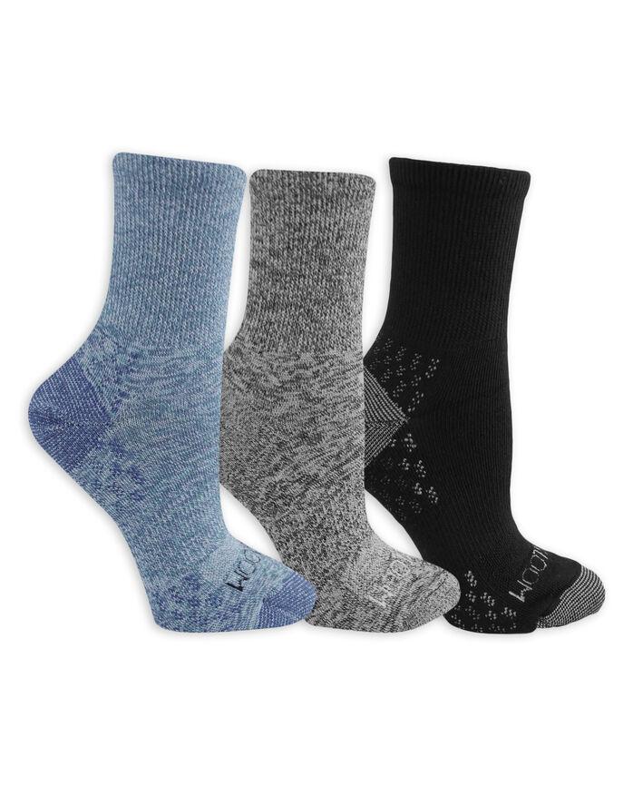 Women's On Her Feet Lightweight Boot Crew Socks, 3 Pack WHITE/BLUE, WHITE/GREY, BLACK