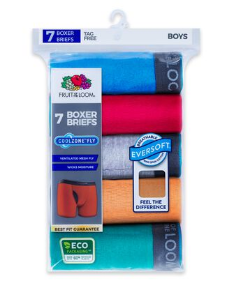 Boys' EverSoft CoolZone Assorted Boxer Brief, 7 Pack