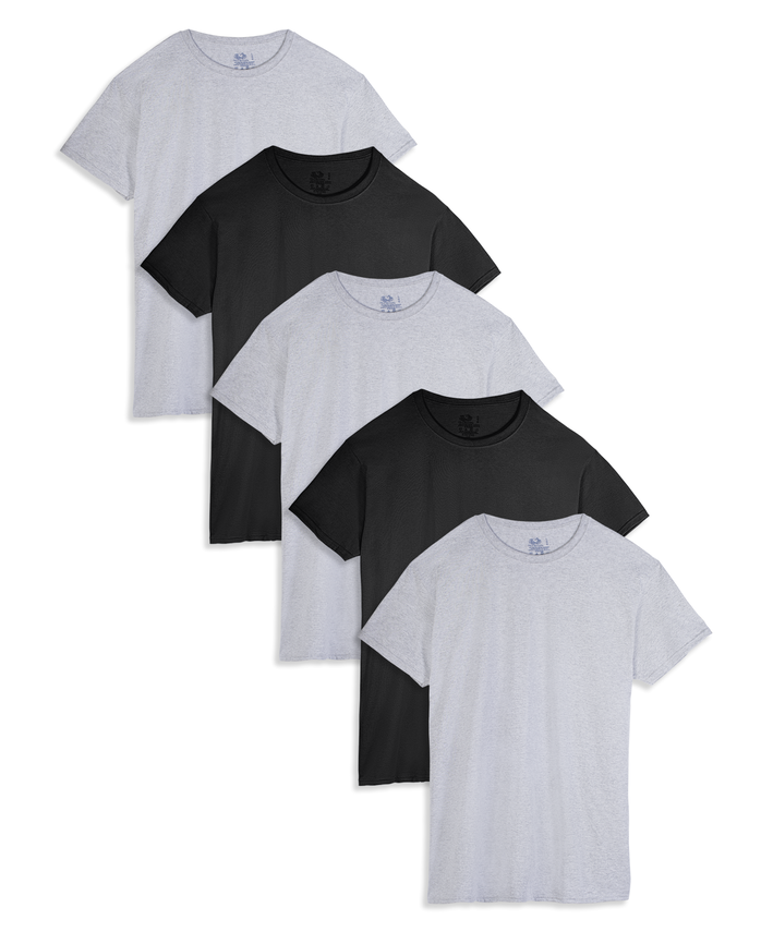 Men's Dual Defense Black/Gray Crew T-Shirts, 5 Pack