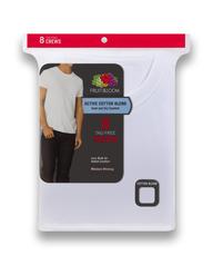 Men's Short Sleeve Active Cotton Blend White Crew T-Shirts, 8 Pack