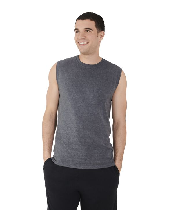 Big Men's Dual Defense UPF Sleeveless Muscle Shirt Charcoal Heather