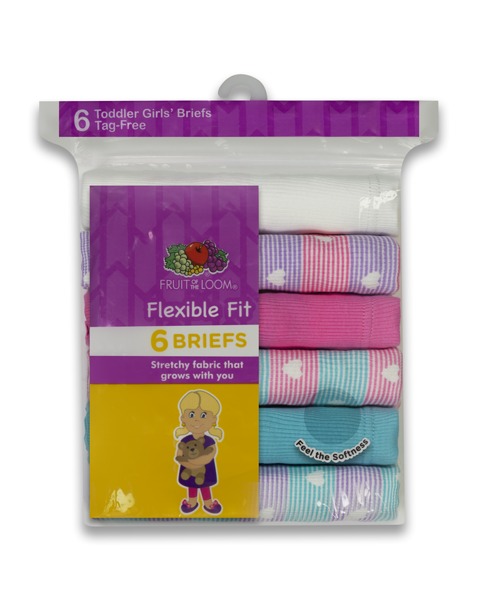 Toddler Girls' Assorted Flexible Fit Briefs, 6 Pack