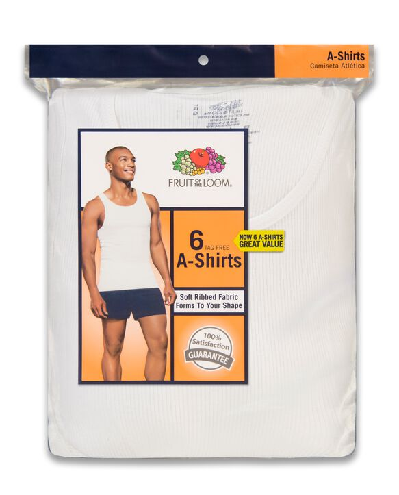 Men's White A-Shirts, 6 Pack White