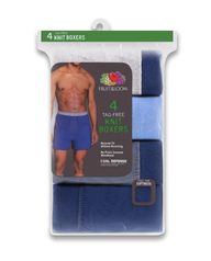 Men's Assorted Knit Boxers, 4 Pack, Extended Sizes Assorted