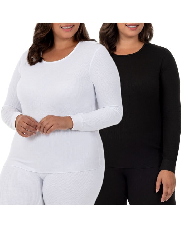 Women's Plus Size Thermal Crew Top, 2 Pack Black/White
