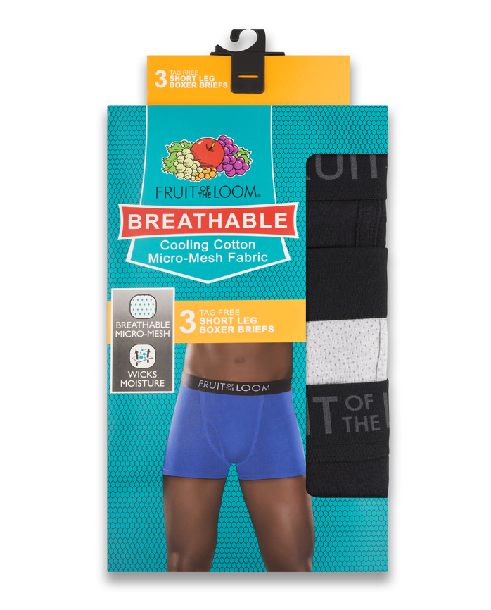 Men's Breathable Black/Gray Short Leg Boxer Briefs , 3 Pack, Size 2XL Assorted