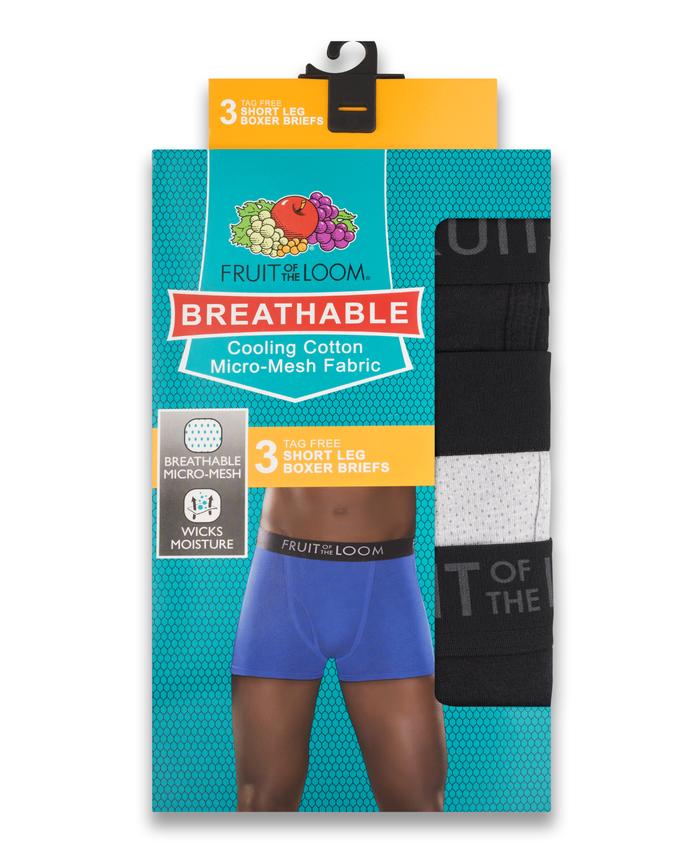 Men's Breathable Black/Gray Short Leg Boxer Briefs , 3 Pack, Size 2XL Assorted