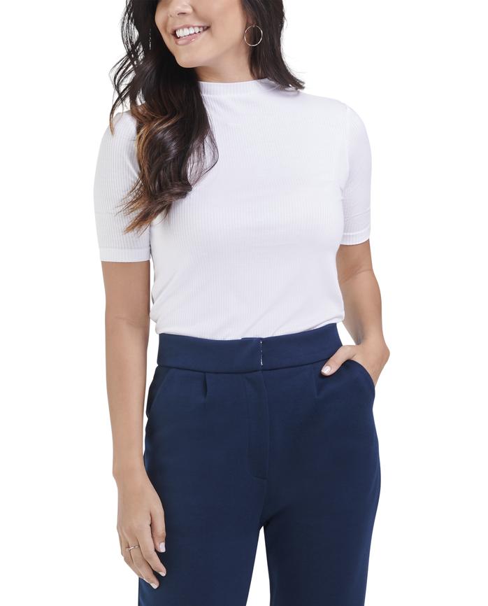 Women's Seek No Further Mock Neck Ribbed T-Shirt