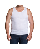 Men's White Cotton A-Shirts, 5 Pack, Extended Sizes White