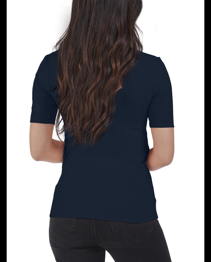 Women's Seek No Further Mock Neck Ribbed T-Shirt, 1 Pack NAVY NIGHTS