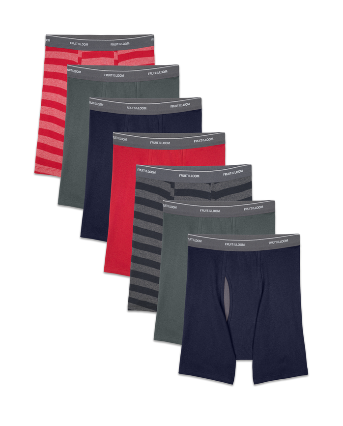 Men's COOLZONE Stripe/Solid Boxer Briefs, 7 Pack ASSORTED
