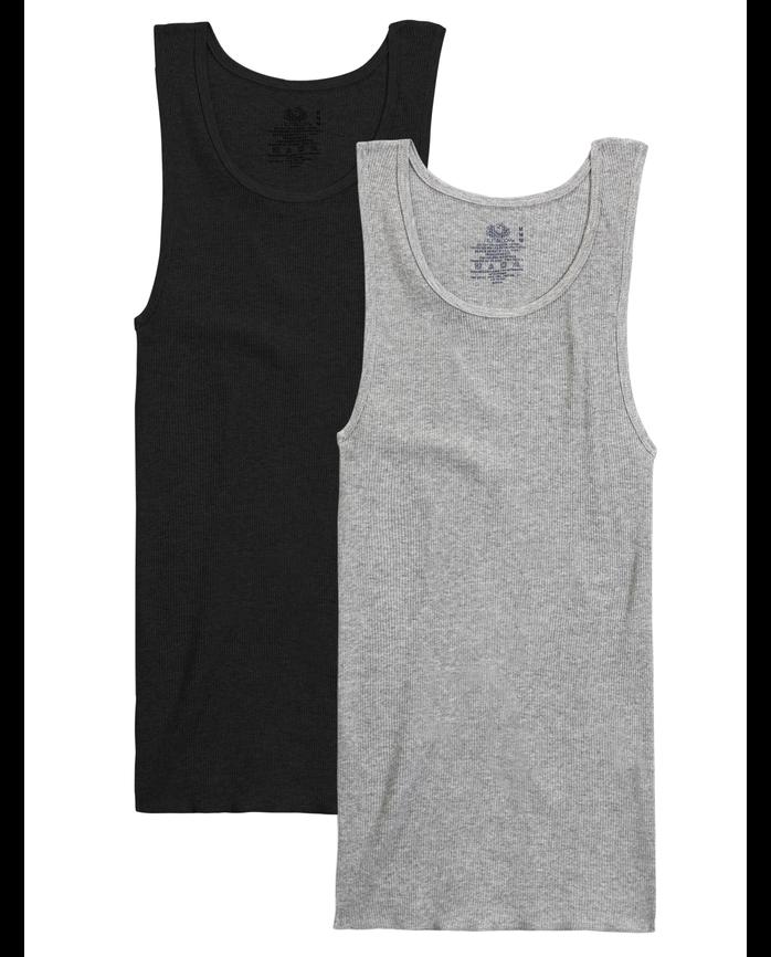 Men's Black/Gray A-Shirts, 2 Pack
