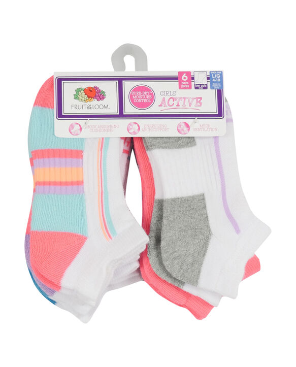 Girls' Active Cushioned Low Cut Socks, 6 Pack WHITE/PINK, WHITE/PURPLE, WHITE/BLUE, WHITE/GREY, PINK