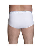 Men's Cotton White Briefs, Extended Sizes, Value 8 Pack