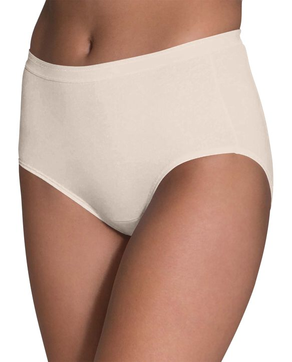Women's Comfort Covered Cotton Brief Underwear, 6 Pack ASSORTED
