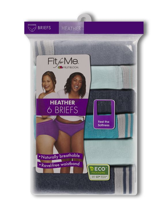 Women's Plus Size Fit for Me® by Fruit of the Loom® Heather Assorted Brief Panty, 6 Pack Assorted