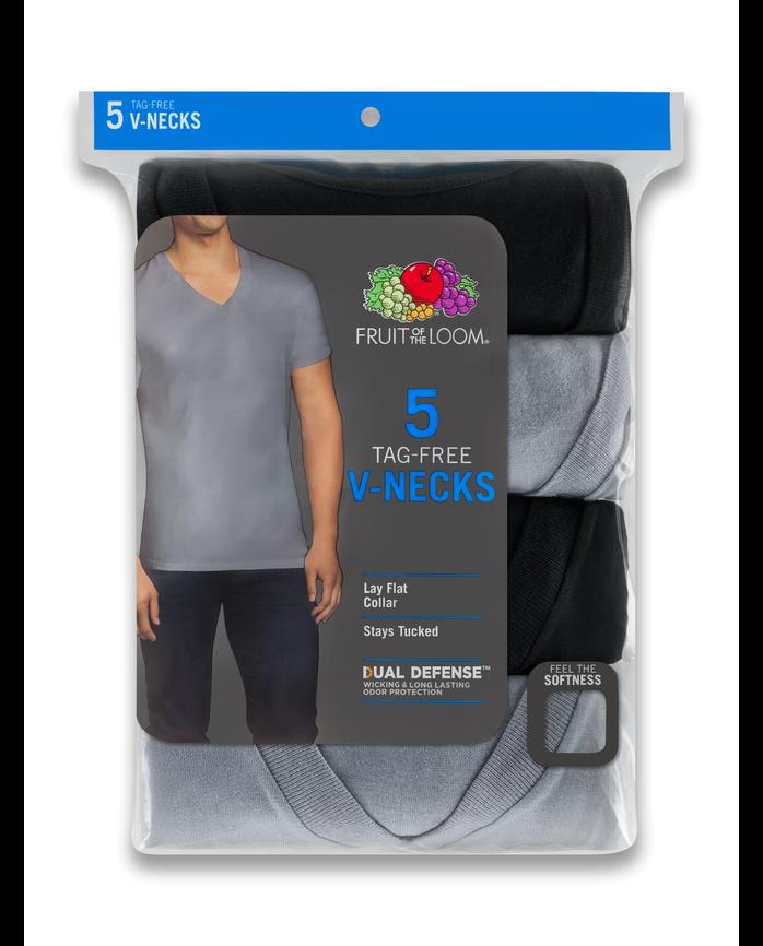 Men's Dual Defense® Black and Gray V-Necks, 5 Pack ASSORTED