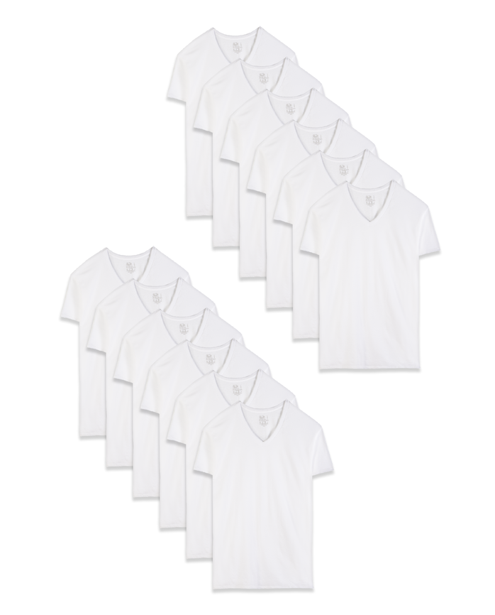 Men's Short Sleeve White V-Neck T-Shirts, 12 Pack
