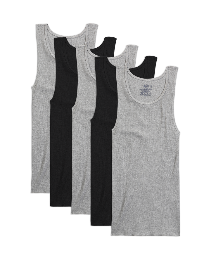 Men's Dual Defense® Black and Gray A-Shirts, 5 Pack