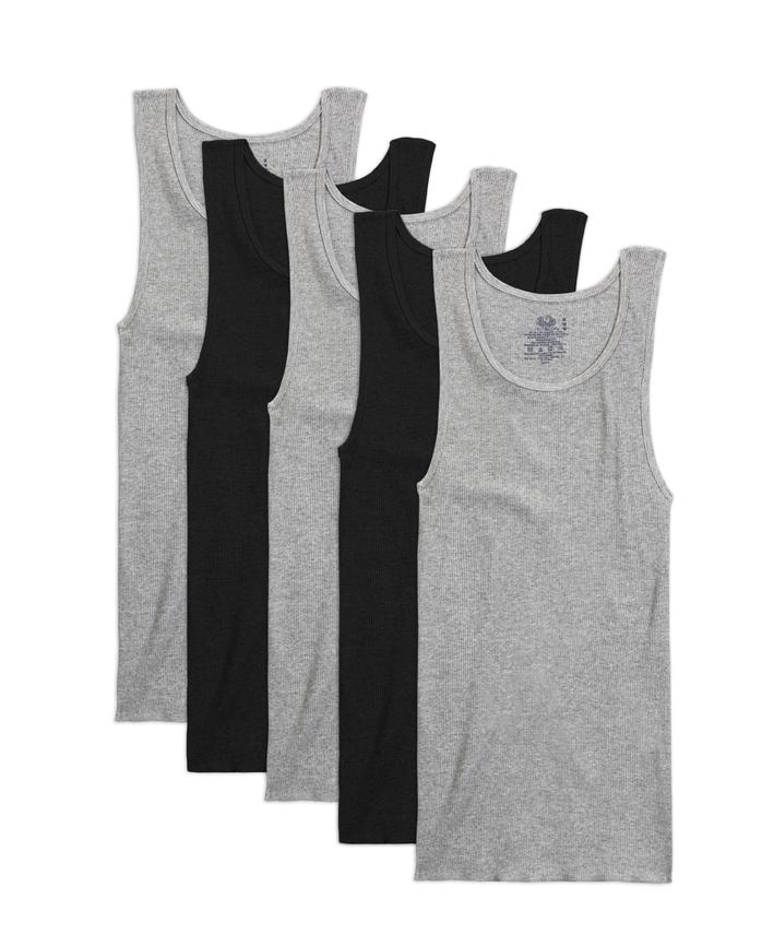 Men's Dual Defense® Black and Gray A-Shirts, 5 Pack