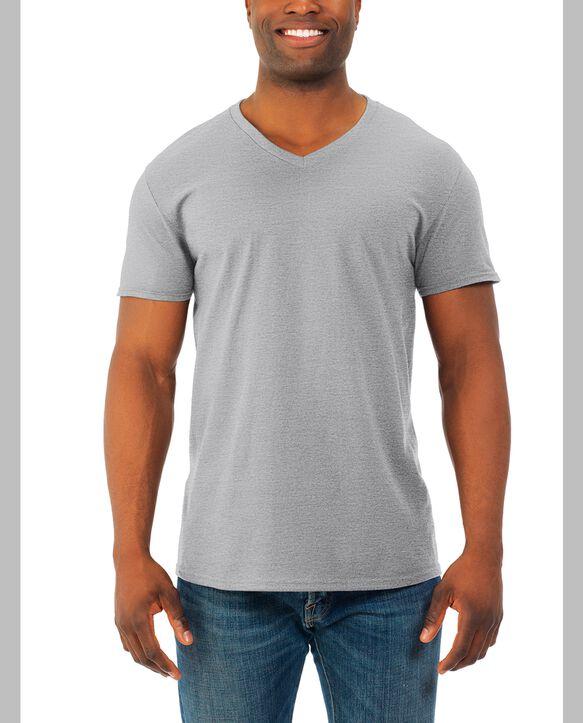 Men's Soft Short Sleeve V-Neck T-Shirt, 2 Pack Athletic Heather