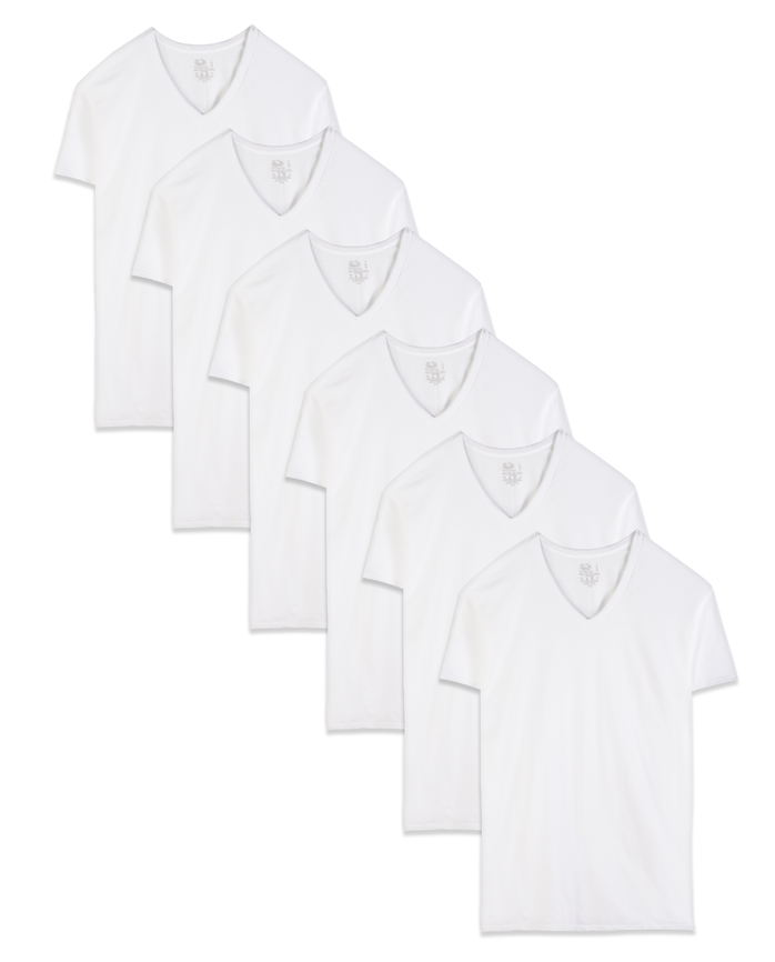 Men's Dual Defense® White V-Neck T-Shirts, 6 Pack White