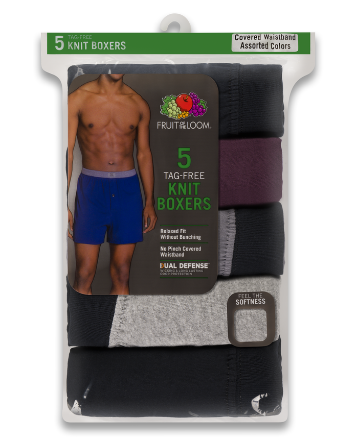 Men's Dual Defense Assorted Knit Boxers, 5 Pack Assorted