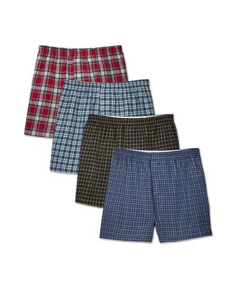 Men's Woven Tartan Plaid Boxers, Extended Sizes, 4 Pack