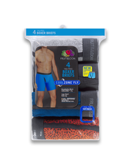 Men's CoolZone Fly Ringer Boxer Briefs, Extended Sizes, 4 Pack ASSORTED